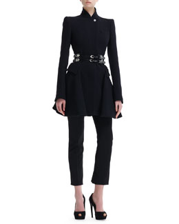 Alexander McQueen Kate High-Collar Flared Coat, High-Waist Cropped Pants & Double-Row Sliding-Charm Belt