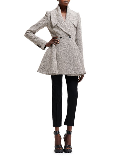 Herringbone Boucle Two-Button Jacket and High-Waist Cropped Pants