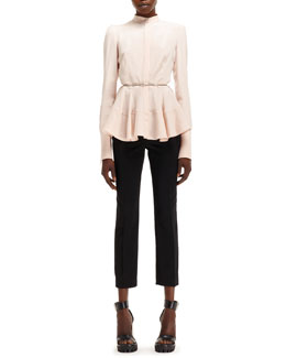 Alexander McQueen Light-Cady Mandarin-Collar Shirt & High-Waist Cropped Pants