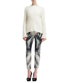 Alexander McQueen Knit Chevron-Design Bell-Sleeve Sweater & Fox Fur-Print Cropped-Ankle Pants