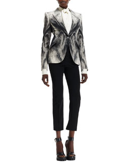 Alexander McQueen Crepe Fox Fur-Print One-Button Jacket, Cady Self-Scarf Puff-Sleeve Blouse & High-Waist Cropped Pants