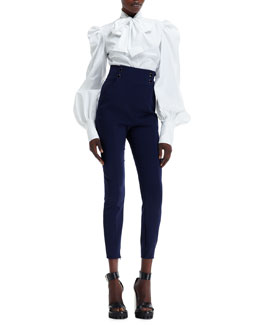 Alexander McQueen Tie-Neck Puffy-Sleeve Shirt & Double-Breasted High-Waist Pants