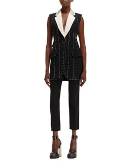 Alexander McQueen Deconstructed Tailored Long Vest & High-Waist Skirted Cropped Pants