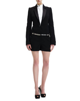 Alexander McQueen Wool Tuxedo Short Jumpsuit & Sliding-Metal Charm Belt