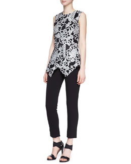 Lela Rose Sleeveless Embroidered Peplum Top and Cropped Catharine Pants