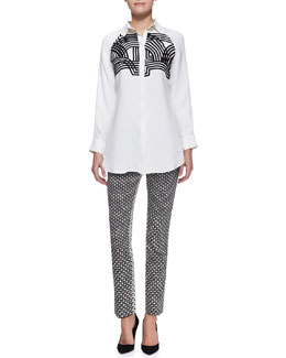 Lela Rose Embellished Line-Drawn Blouse and Caroline Printed Reverse-Back Pants