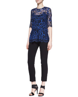 Lela Rose Short-Sleeve Lace Peplum Blouse and Cropped Catharine Pants