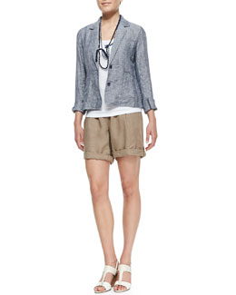 Eileen Fisher Chambray Railroad Stripe Jacket, Organic Cotton Slim Tank, Linen City Shorts & Silk Beaded Necklace