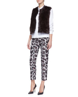 Paule Ka Reversible Shearling Vest, Long-Sleeve Stretch Cotton Poplin Blouse & Macro Leopard Jacquard Pants
