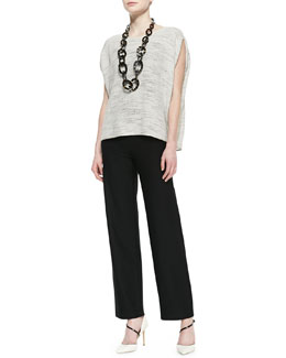 Eileen Fisher Floating Mesh Weave Top & Washable-Crepe Straight-Leg Pants, Petite