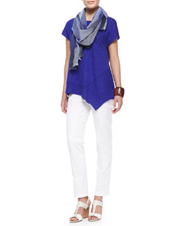 Eileen Fisher Cap-Sleeve Asymmetric Top, Organic Slim Zipper-Cuff Trousers & Hazy Color-Shift Plaid Scarf