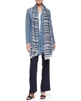 Eileen Fisher Boucle Stripe Cardigan, Slim Tank, Linen-Blend Straight-Leg Trousers & Nomadic Multi-Stripe Scarf, Women's