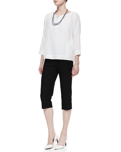 Eileen Fisher Organic Gauze Henley Top, Washable-Crepe Slim Capris & Bandhini Printed Cotton Necklace, Petite