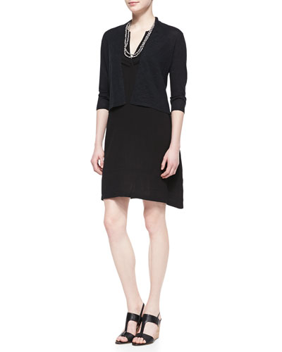 Eileen Fisher 3/4-Sleeve Cropped Cardigan, Split-Neck Sleeveless Dress & Bandhini Printed Cotton Necklace, Petite
