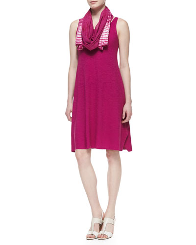 Eileen Fisher Organic Cotton Hemp Twist Sleeveless Dress & Shibori Cracked-Cotton Scarf, Petite