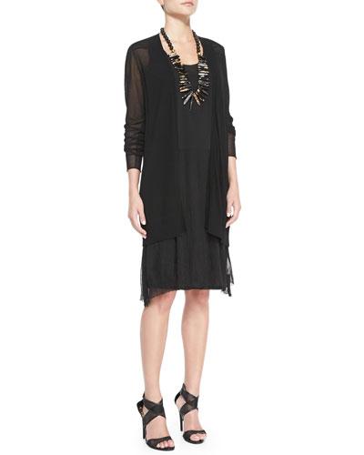 Eileen Fisher Long Mesh-Panel Cardigan & Gathered Tank Dress