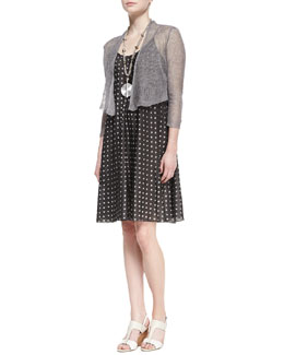 Eileen Fisher Precious Metal Cardigan & Silk Ikat Dot Cami Dress