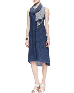 Eileen Fisher Sleeveless Printed Bias Dress & Linen/Denim Striped Scarf