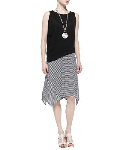 Eileen Fisher Organic Linen Asymmetric Sleeveless Top & Organic Linen Stripe Skirt