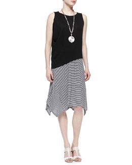 Eileen Fisher Organic Linen Asymmetric Sleeveless Top & Organic Linen Stripe Skirt, Petite