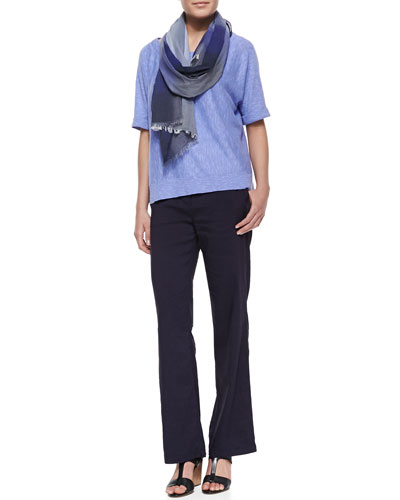 Eileen Fisher Boxy High-Low Top, Linen-Blend Straight-Leg Trousers & Hazy Color-Shift Plaid Scarf
