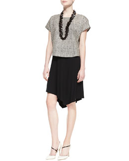 Eileen Fisher Bandini-Print Short-Sleeve Top & Jersey Handkerchief-Hem Skirt