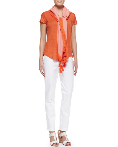 Eileen Fisher Lightweight Organic V-Neck Top, Organic Stretch Slim Zipper-Cuff Trousers & Color-Tipped Tassel Scarf, Women's