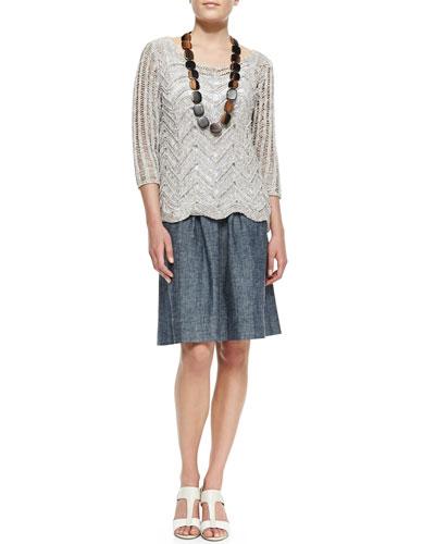 Eileen Fisher Wonder Crochet Scalloped Top, Organic Cotton Slim Tank & Chambray A-line Skirt