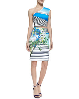Clover Canyon One-Shoulder Printed Swirl Top & Skirt