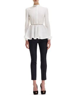 Alexander McQueen Pleated-Peplum Mandarin-Collar Blouse, Twisted Metal Belt & Side Contrast-Stripe Cropped Jeans