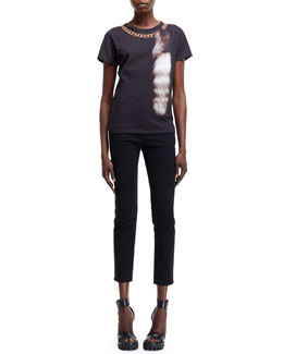 Alexander McQueen Fox-Tail & Chain Optic Print Tee and High-Waist Cropped Pants