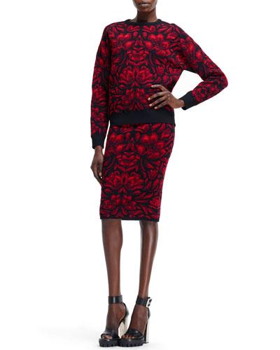 Alexander McQueen Tulip Jacquard Knit Sweater & High-Waist Skirt