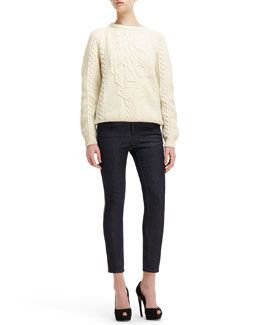 Alexander McQueen Cable-Knit Skull-Design Sweater & Side Contrast-Stripe Cropped Jeans