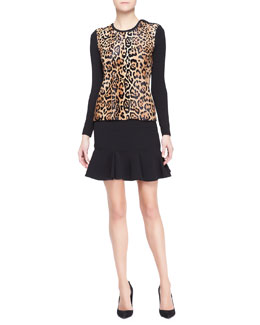 Ralph Lauren Black Label Long-Sleeve Leopard-Print Top & Lindley Flared Skirt