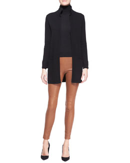 Ralph Lauren Black Label High-Neck Cashmere Cardigan, Cashmere-Silk Turtleneck & Abbey Leather Skinny Pants
