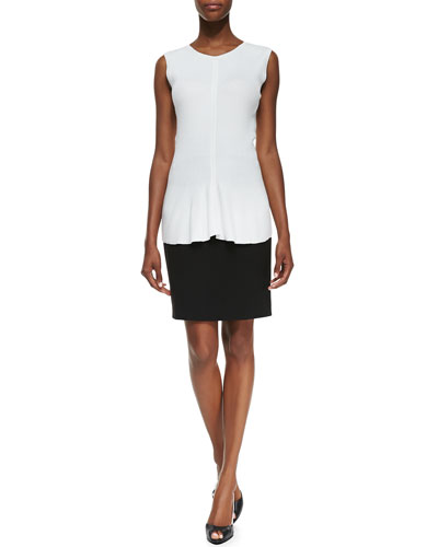 Carmen by Carmen Marc Valvo Sleeveless Ribbed Peplum Pullover & Zip-Pocket Slim Skirt