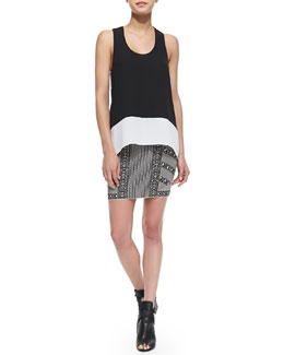 BCBGMAXAZRIA Allison Arched Cutout Back Top & Josa Mixed Stripe Jacquard Skirt