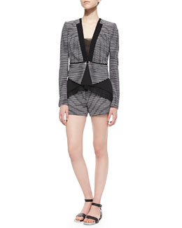 BCBGMAXAZRIA Pia Striped-Knit Shorts, Lyssa Sheer-Trim Sleeveless Tank & Otto Striped-Knit Jacket