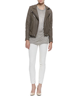 IRO Tara Front-Zip Leather Jacket, Linda Shimmery Short-Sleeve Tee & Liya Low-Rise Slim Jeans