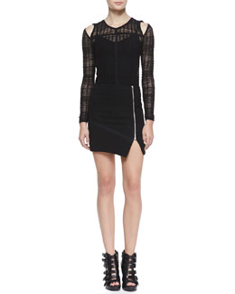 IRO Camille Lace Cold-Shoulder Top & Warol Asymmetric Front-Zip Skirt