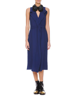 Marni Sleeveless Drape-Collar Satin Dress & Studded Beaded Hook Collar