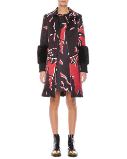 Marni Beaver Fur-Cuffed Macro-Floral-Print Coat & Macro-Floral-Print Satin Shift Dress