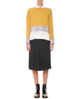 Marni Felt-Trim Knit Cropped Sweater, Inverted-Pleat Poplin Blouse & Accordion-Pleat Crepe Skirt