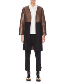 Marni Leather/Felt Long Coat, Inverted-Pleat Poplin Blouse & Flat-Front Cropped Wool Pants