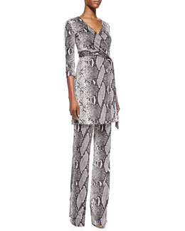 Diane von Furstenberg Snake-Print Wrap Tunic Top and Silk Jersey Pants