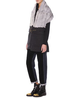 Marni Belted Goat-Fur-Collar Vest, Jewel-Trim Cashmere Sweater & Velvet/Denim Cropped Relaxed Pants