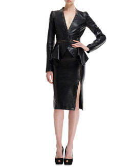 Alexander McQueen Mini-Gold Stud-Detail Leather Peplum Jacket & High-Waist Leather Skirt