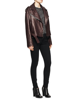 Proenza Schouler Shiny Leather Moto Jacket, Polka Dot Tissue Top & Ultra-Skinny Ankle Jeans