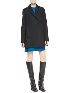 Proenza Schouler Wool-Cashmere Snap Coat and Sleeveless Stud-Trim Shift Dress