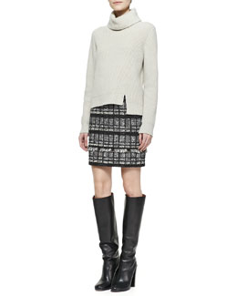 Proenza Schouler Notched-Hem Turtleneck Sweater and Fringe-Trim Tweed Skirt
